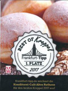 Die Leser von frankfurt-tipp.de haben unsere Kreppel zum dritten Mal als die Besten im Rhein-Main-Gebiet gewählt.